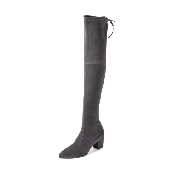 Dark Grey Long Boots Suede Block Heel Thigh-high Boots image 1