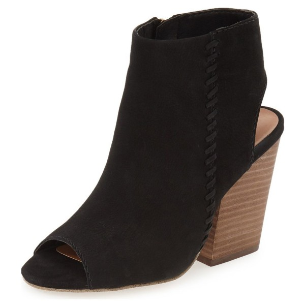 Black Slingback Shoes Suede Chunky Heel Vintage Ankle Boots image 1