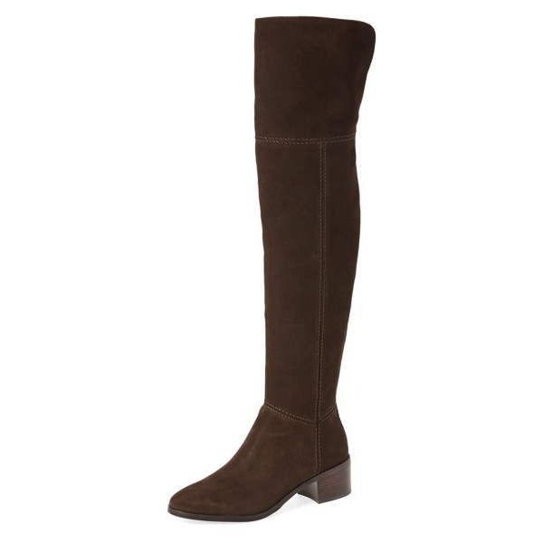 Dark Brown Long Boots Suede Block Heels Over-the-knee Boots image 1