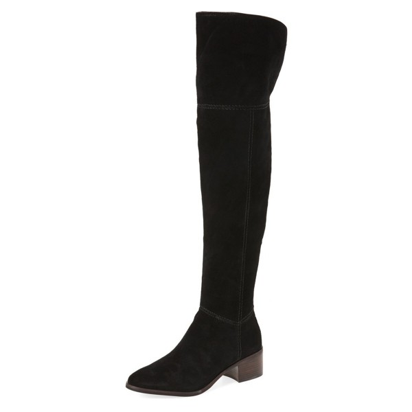 Black Long Boots Chunky Heel Over-the-knee Boots  image 1
