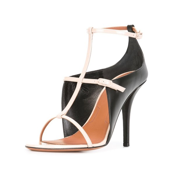 Black and White Heels T-strap Sandals Stiletto Heels Formal Shoes image 1
