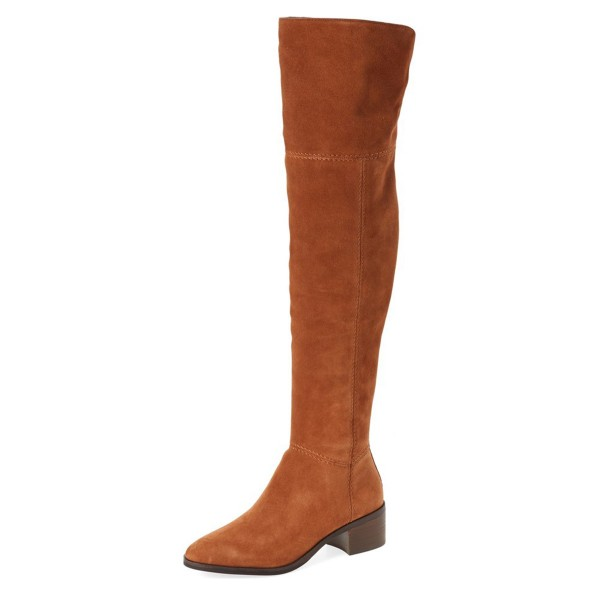 Tan Boots Suede Low Heel Fashion Over-the-Knee Long Boots image 1
