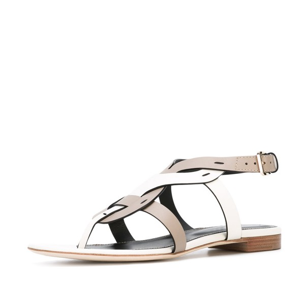 White and Brown Flat Sandals Comfortable Slippers image 1