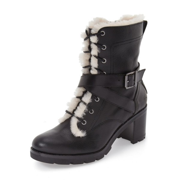 Black Lace up Combat Boots Round Toe Chunky Heels for Winter image 1