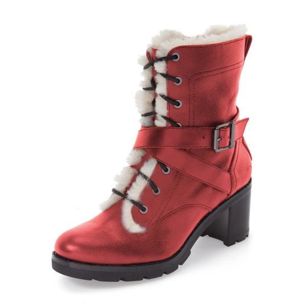 Red Combat Boots Lace up Chunky Heels for Winter image 1