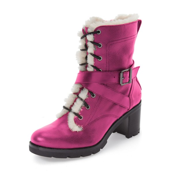 Women's Fuchsia Lace-up Cold Weather Chunky Heels Martin Boots image 1