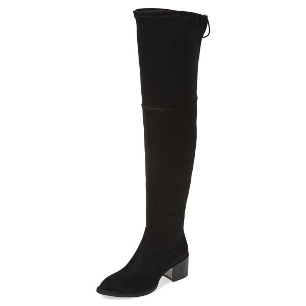 Black Long Boots Chunky Heel Suede Over-the-Knee Boots image 1