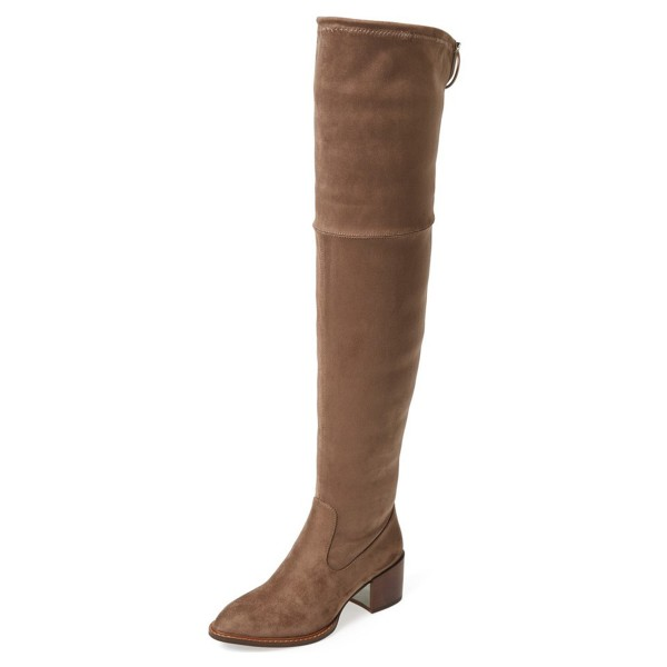 Light Brown Long Boots Chunky Heel Over-the-Knee Boots image 1