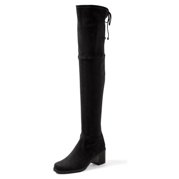 Women's Black Suede Warm Over-the-Knee Chunky Heel Boots image 1