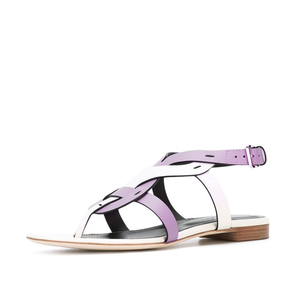 FSJ White and Purple Thong Sandals Trending Flat Summer Sandals image 1