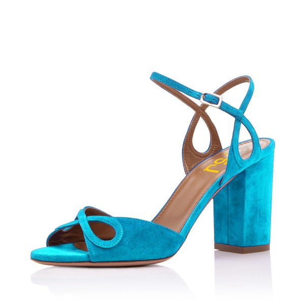 Light Blue Heels Suede Ankle Strap Sandals Form Shoes for Prom image 1