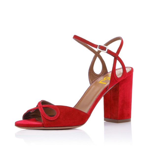 Red Heels Ankle Strap Sandals Form Shoes for Prom image 1