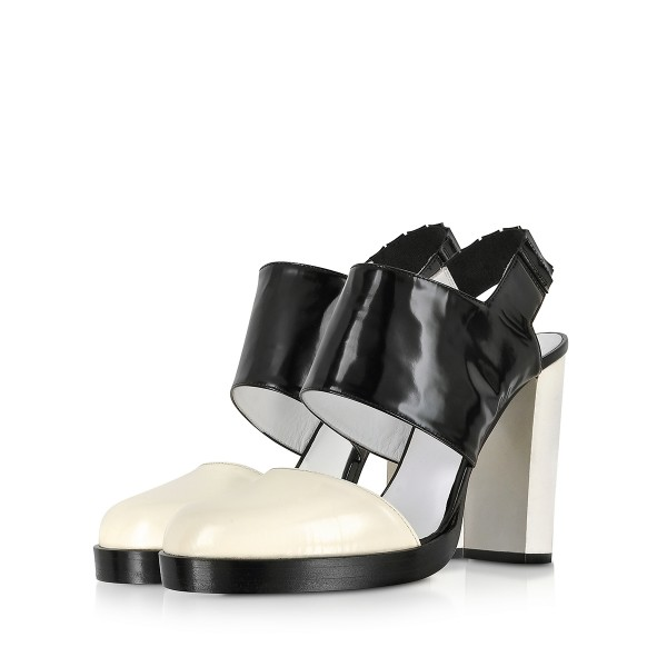 Black and White Formal Shoes Block Heel Slingback Sandals image 1