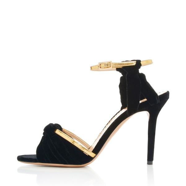 Women's Black and Golden  Suede Stiletto Ankle Strap Sandals image 1