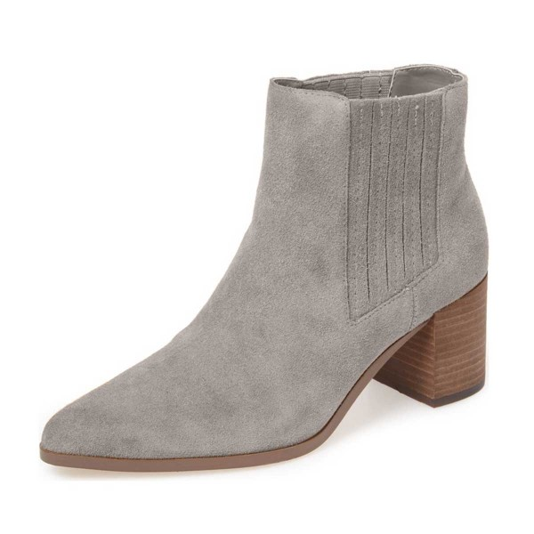 Women's Light Gray Pointed Toe Ankle Chunky Heel Boots image 1