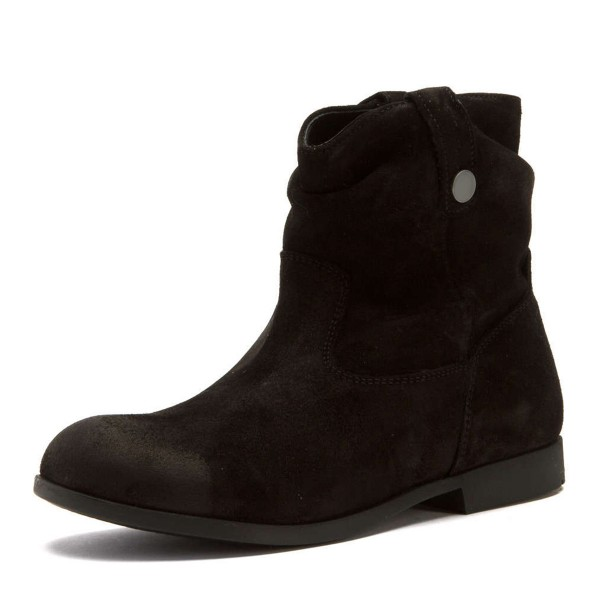 Black Suede Flat Ankle Boots Round Toe Vintage Short Boots image 1