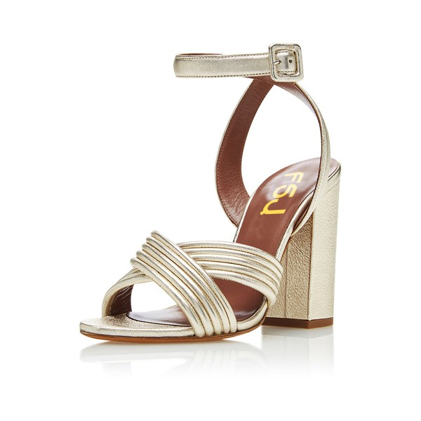 Champagne Ankle Strap Sandals Open Toe Block Heels  image 1