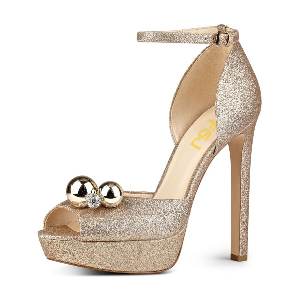 Golden Sparkly Heels Rhinestone Glitter Shoes Ankle Strap Sandals image 1