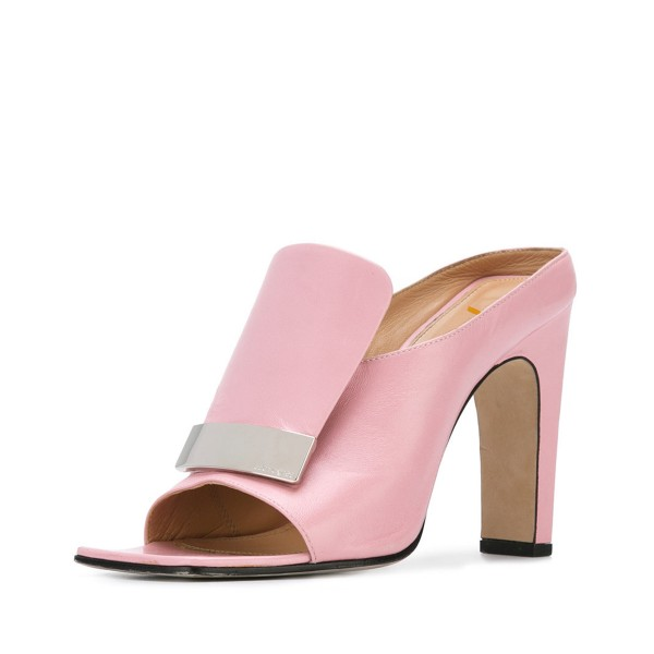FSJ Pink Mule Heels Open Toe Chunky Heels for Office Lady image 1