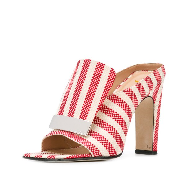 Women's Red and White Plaid Stripes Formal Chunky Heels Mule Sandals image 1