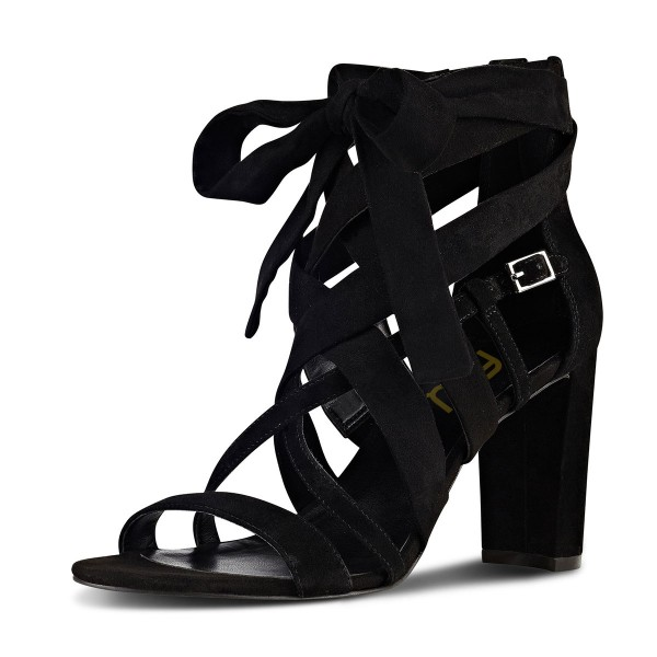 Black Strappy Sandals Lace up Suede Block Heels image 1