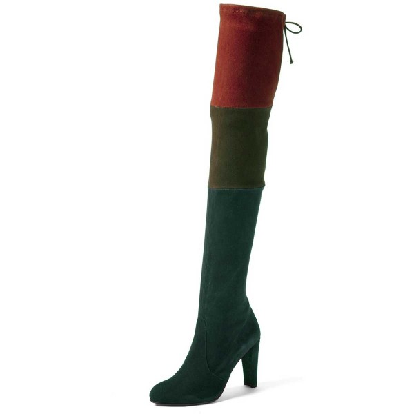 Women's Green Stitching Color Over-The- Knee Chunky Heel Boots image 1