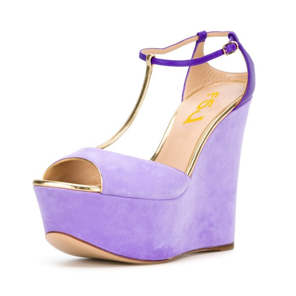 Women's Purple T-strap Peep Toe Wedge Sandals image 1