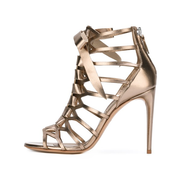 Champagne Gladiator Sandals Hollow out Mirror Leather Open Toe Stiletto Heels image 1