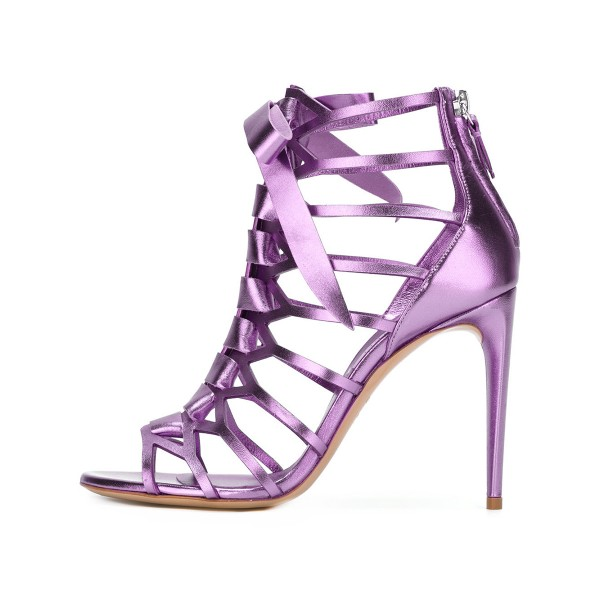 Women's Purple Mirror Leather Bow Hollow out Stiletto Heels Gladiator Sandals image 1
