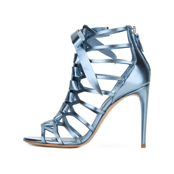 Women's Blue Mirror Leather Bow Hollow out Gladiator Sandals image 1