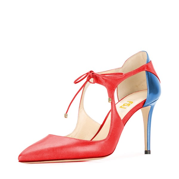Red and Blue Lace-up Heels Pointy Toe 3 Inch Stiletto Heels image 1