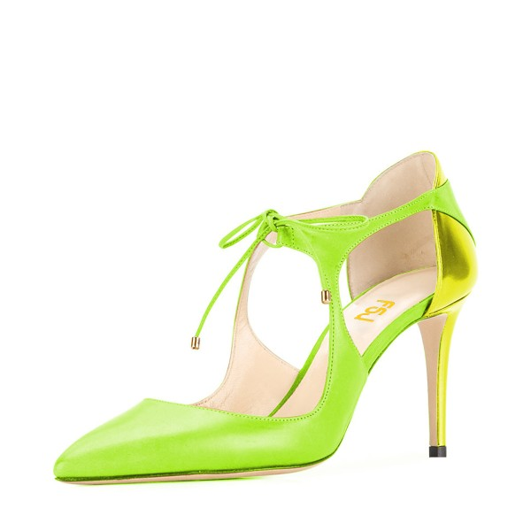 Women's Green Lace-up Pointed Toe Stiletto Heels Sandals image 1