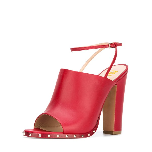 Women's Red Slingback Pumps Rivets Chunky Heels Form Shoes image 1