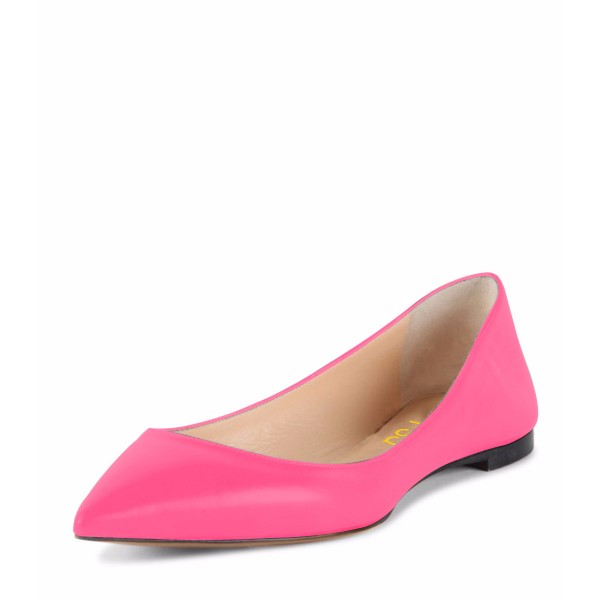 Hot Pink Comfortable Flats Pointy Toe Shoes for Girls image 1