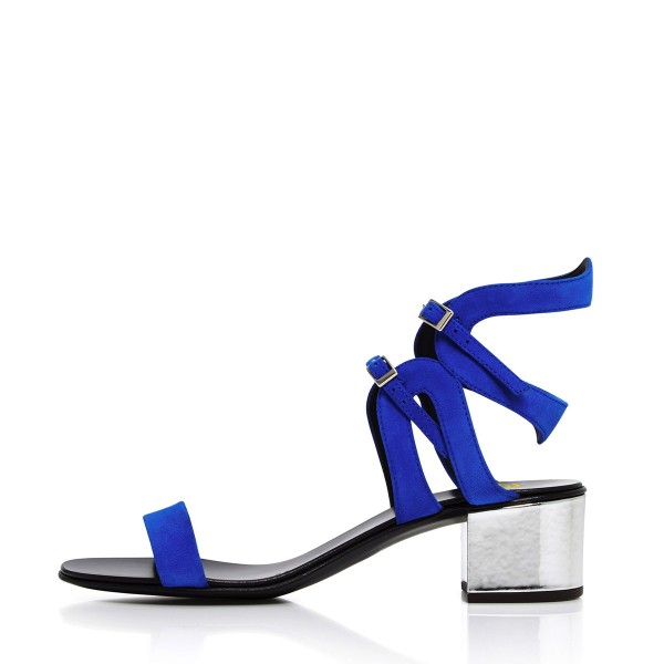 Women's Royal Blue Heels Ankle Buckle Office Chunky Heel Sandals image 3