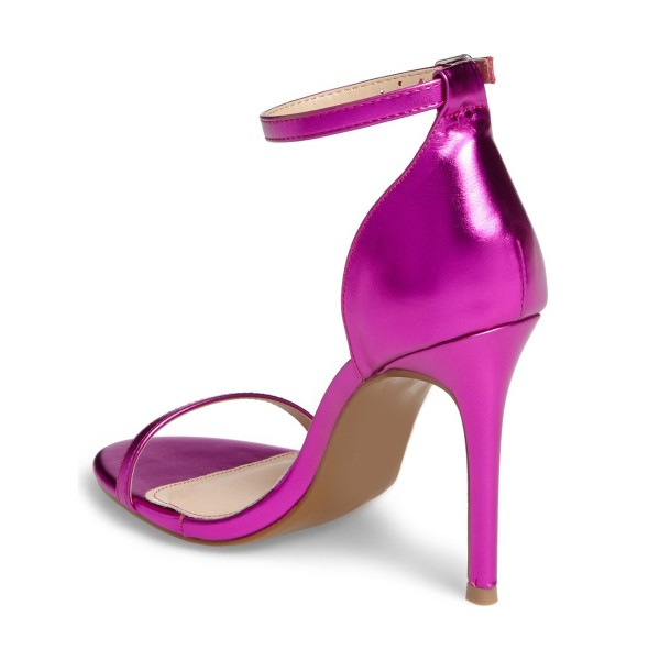 Women's Red Violet Glossy Stiletto Heels Open Toe Ankle Strap Sandals image 4