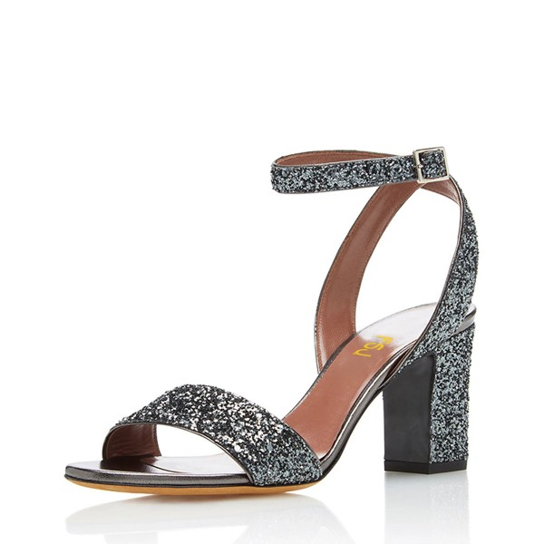 Grey Glitter Shoes Open Toe Ankle Strap Block Heel Sandals image 1