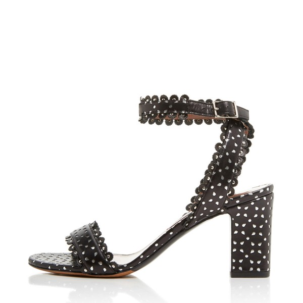 Black and White Carve Pattern Open Toe Ankle Strap Heels Sandals image 1