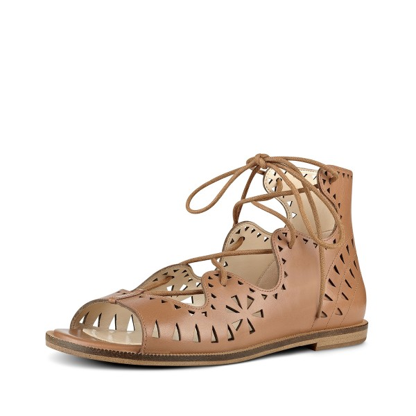 Brown Open Toe Flats Lace-up Sandals School Shoes image 1