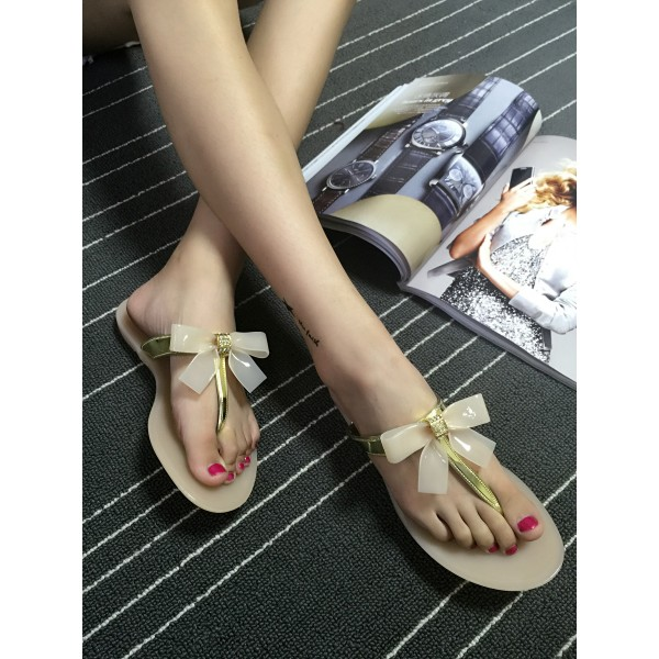 Women's Golden Open Toe Bow Slipper  Comfortable Flats Sandals image 3