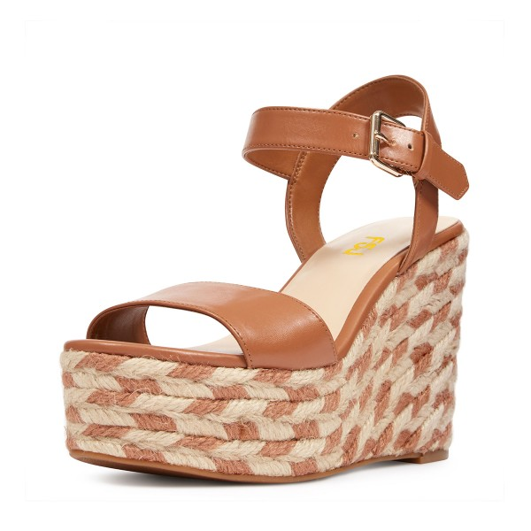 Tan Wedge Sandals Summer Platform Sandals for Women image 1