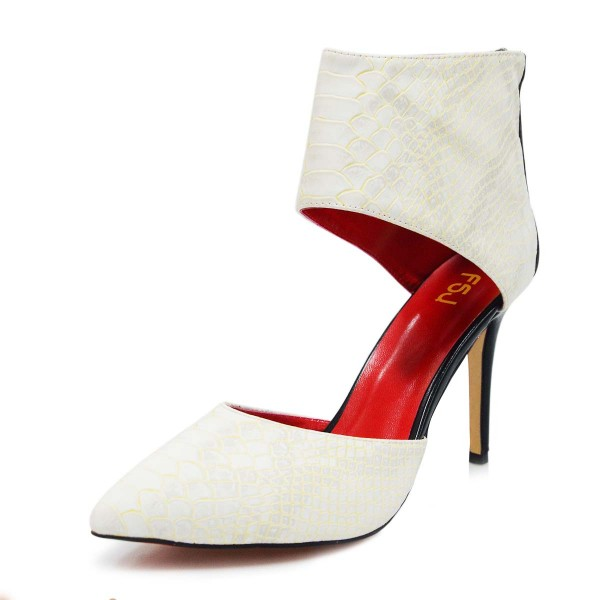 White Stiletto Boots Python Pointy Toe Cutout Ankle Booties image 1