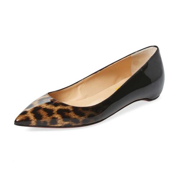 Women's Leopard Print Flats Comfortable Shoes Pointy Toe Flats image 1