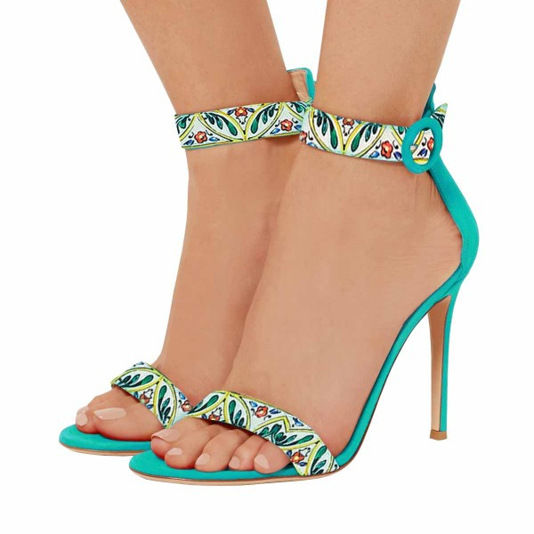 Women's Turquoise Floral Stiletto Heel Ankle Strap Sandals  image 1