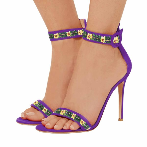 Women's Purple Stiletto Heel Floral Ankle Strap Sandals  image 1