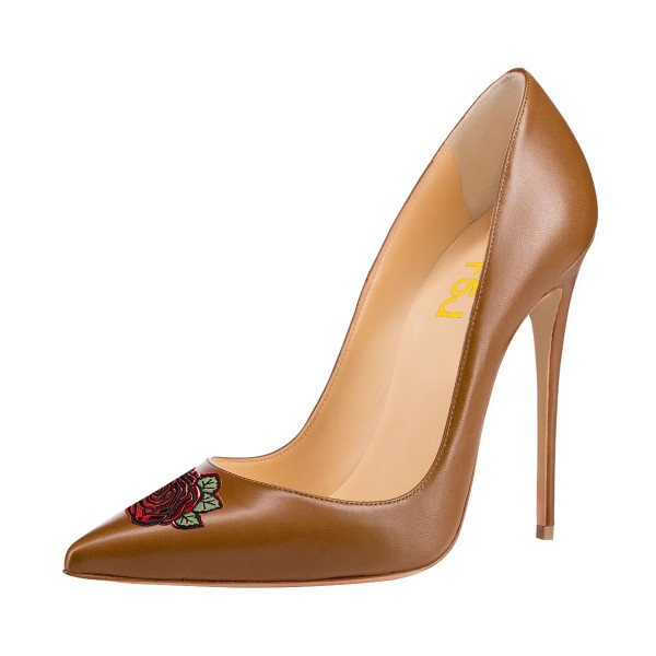 Women's Brown Stiletto Heels Floral Pointy Toe Stiletto Heels  Shoes image 1