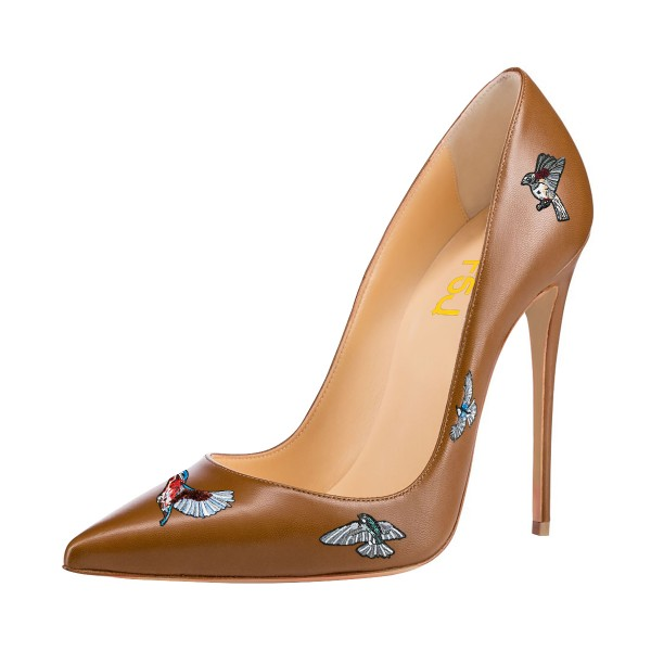 Women's Brown Animal Floral Stiletto Heels Pointy Toe Pumps Shoes image 1