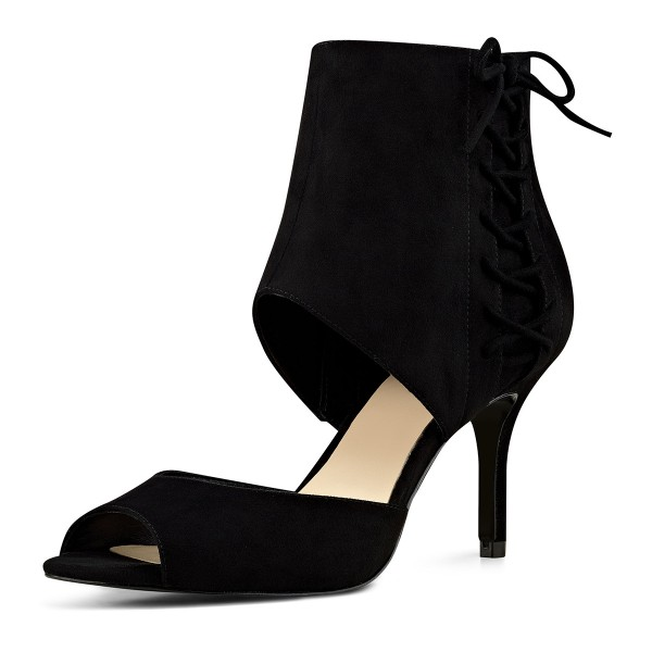 Black Summer Boots Peep Toe Cutout Kitten Heels image 1
