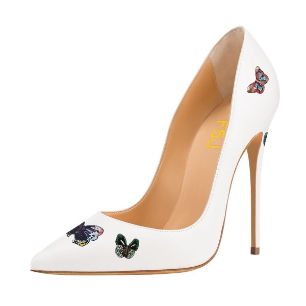 Women's White Stiletto Heels Pointed Toe 4 Inch Heels Pumps Wedding Shoes  image 1
