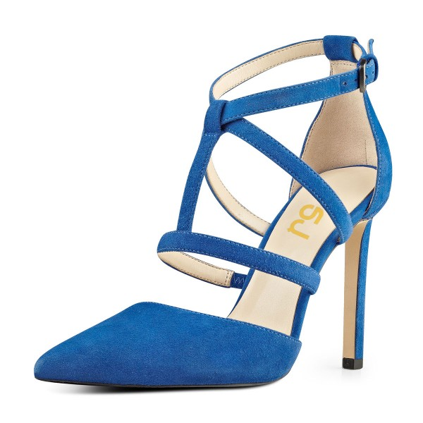 Cobalt Blue Shoes T Strap Suede Stiletto Heel Closed Toe Sandals image 1